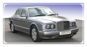 Chauffeur driven silver Bentley Arnage for hire